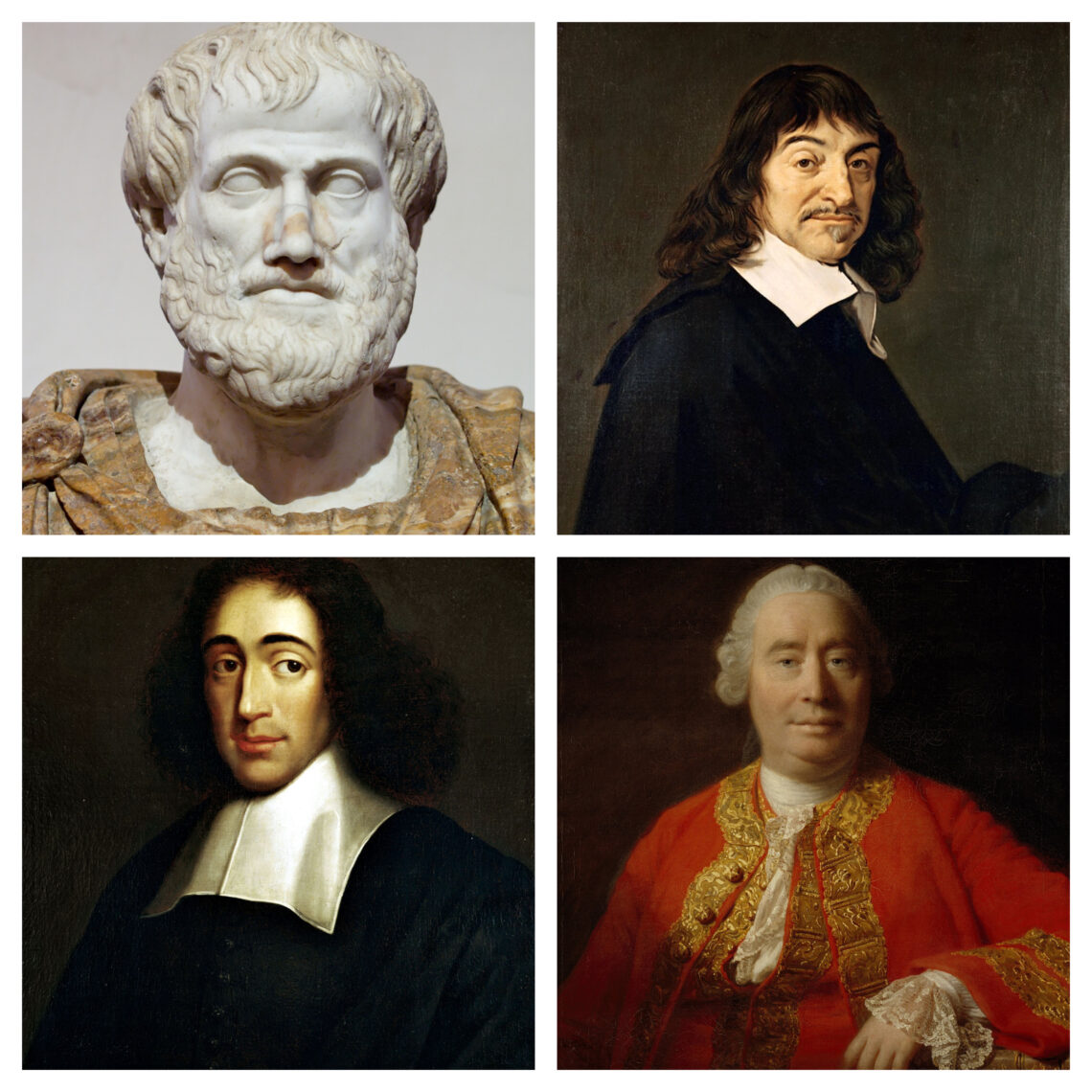 Aristoteles, Descartes, Spinoza und Hume
